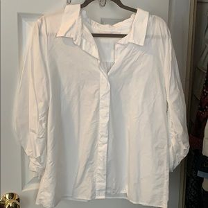 White Zara button up blouse with unique sleeve tie